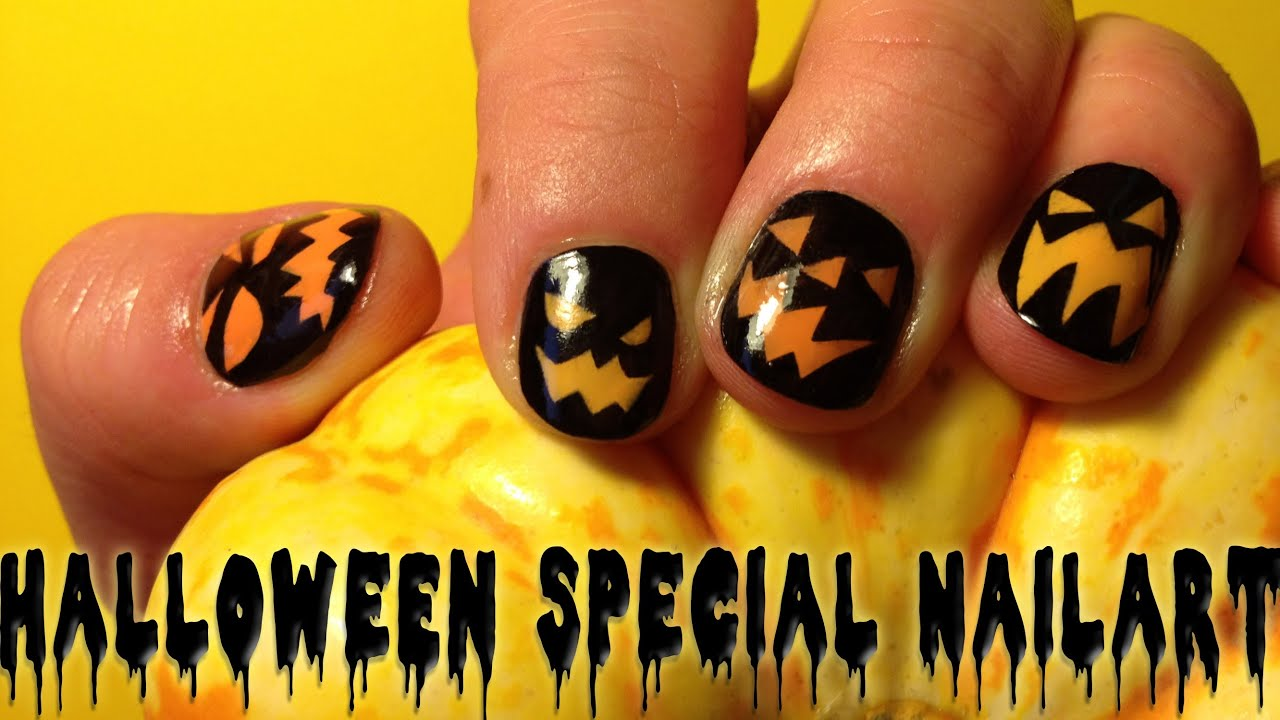 ♥ Nail Art Tutorial - How to do Halloween Jack O\'Lantern Pumpkin ...