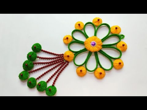 DIY NEW DESIGN WOOLEN WALL HANGING OUT OF WASTE/WOOLEN CRAFT IDEA/ WALL HANGING DECORATION