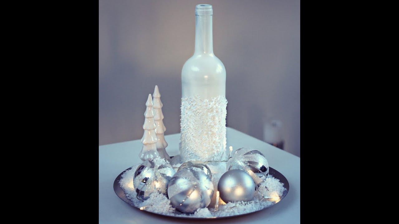 Diy snowy christmas wine bottle decoration youtube for Christmas bottle decorations