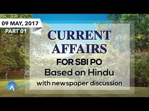 एसबीआई पीओ के लिए दि हिन्दू आधारित करंट अफेयर्स (09 मई2017)