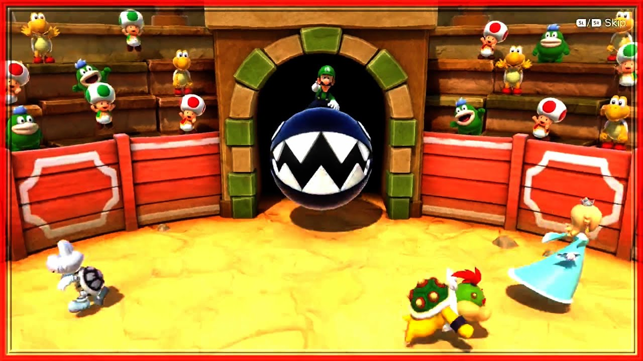 Super Mario Party Minigames - Luigi vs Rosalina vs Bowser Jr. vs Dry Bones
