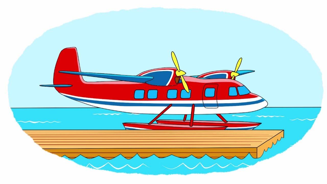 мультик раскраска учим цвета самолеты биплан гидроплан бизнес джет