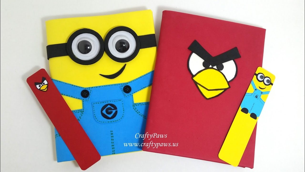 Diy Minion Book Cover ~ Diy minions angry bird notebooks bookmarks vr justine