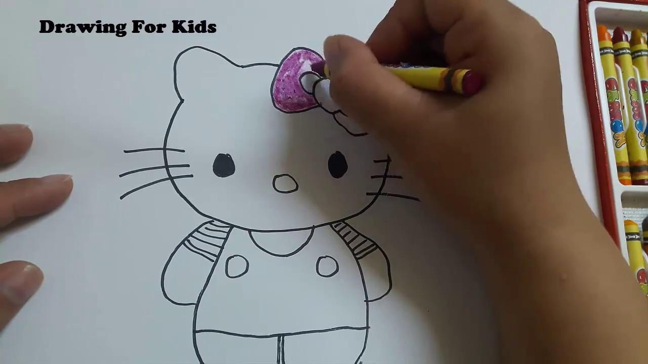 Vẽ mèo hello kitty – Hướng dẫn bé tô màu – Drawing cat