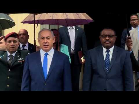 Reception ceremony for Netanyahu in Ethiopia