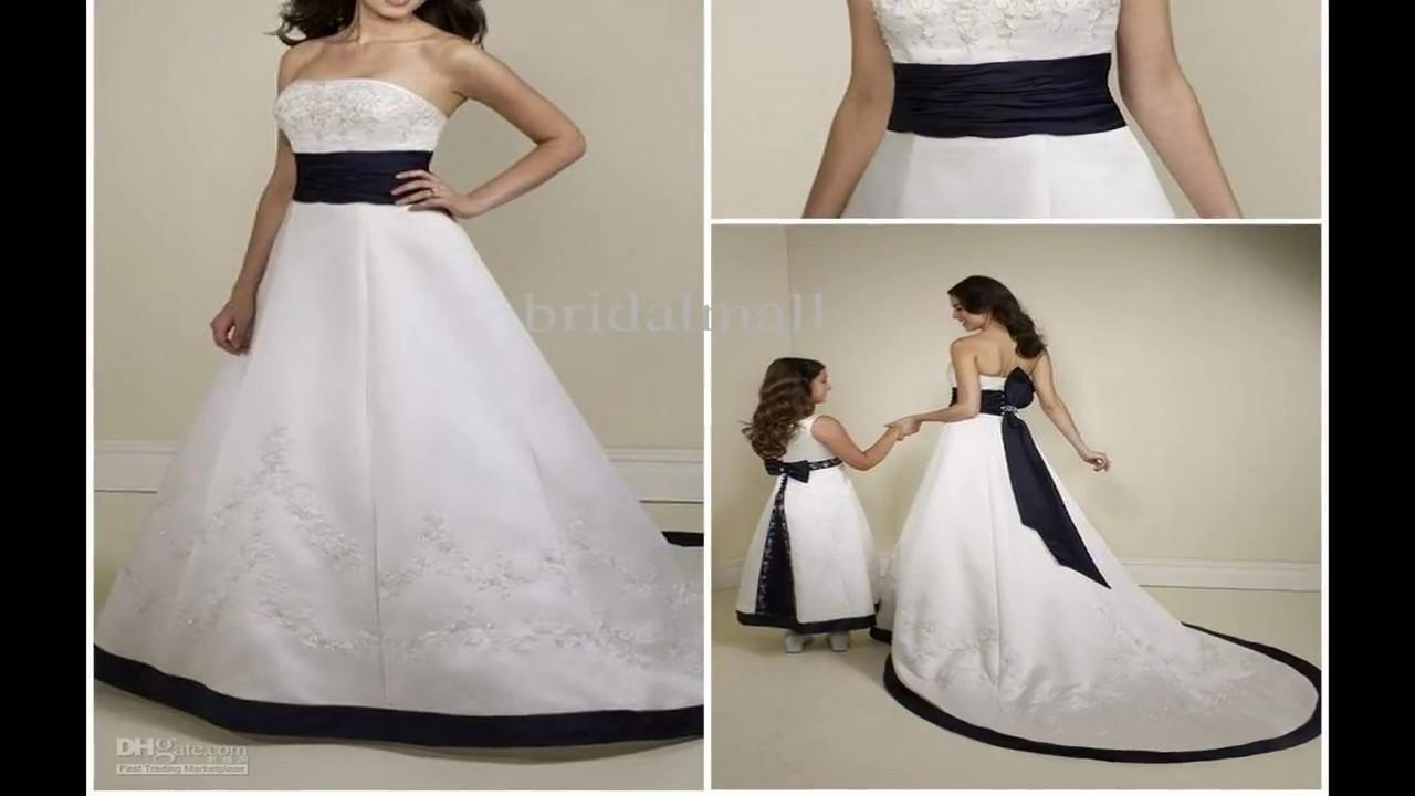 Best Wedding Dress With Navy Blue Belt - YouTube