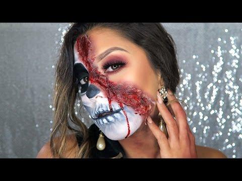 Halloween Series: Half Skull, Bloody Homecoming Queen | MarianneMMakeup