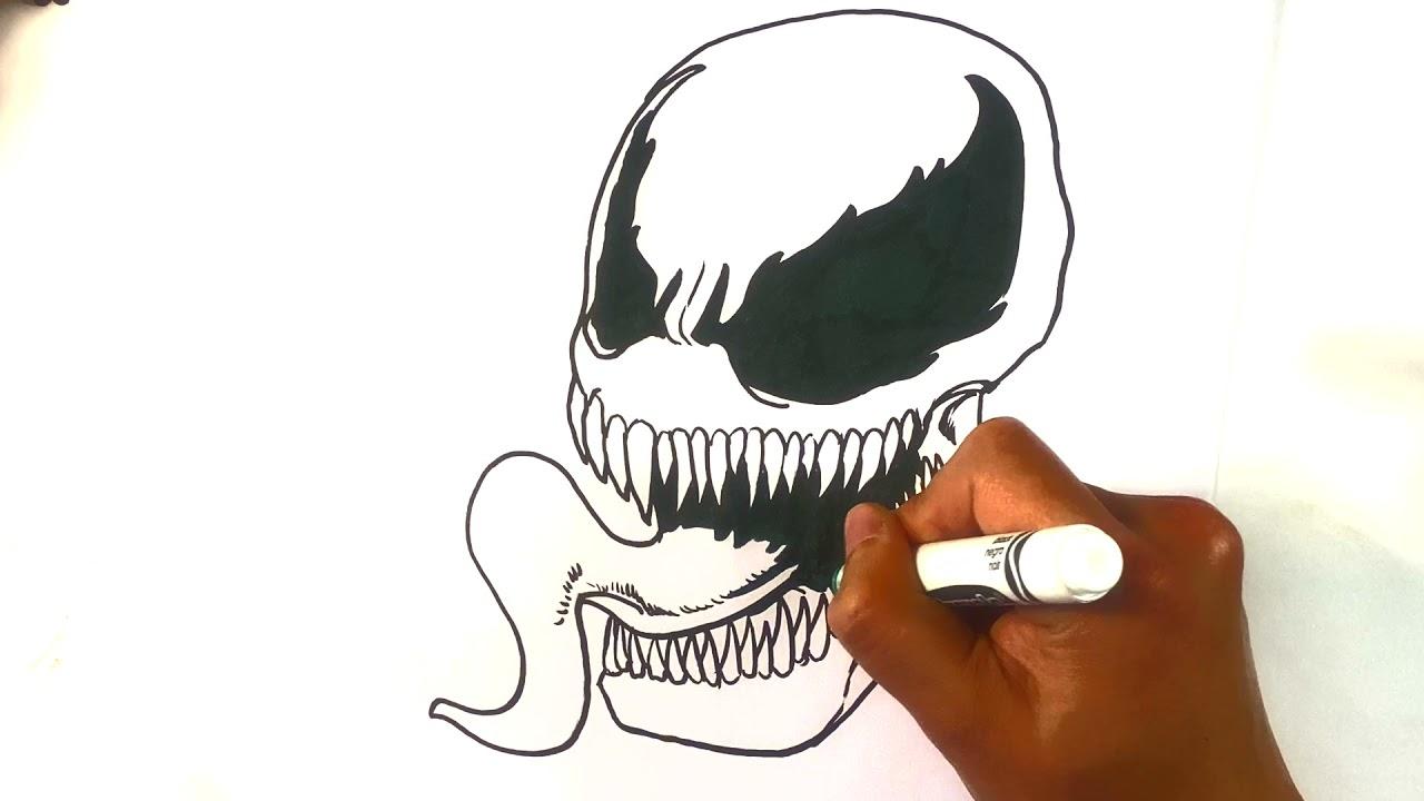 How to Draw Venom Skull