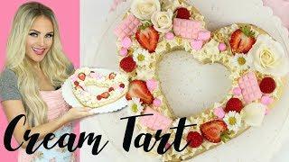 How To Make an Easy Cream Tart Heart Cookie Cake // Lindsay Ann Bakes