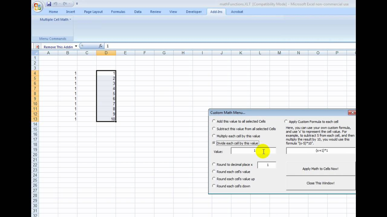 How to do math to multiple cells in microsoft excel (add/subtract ...