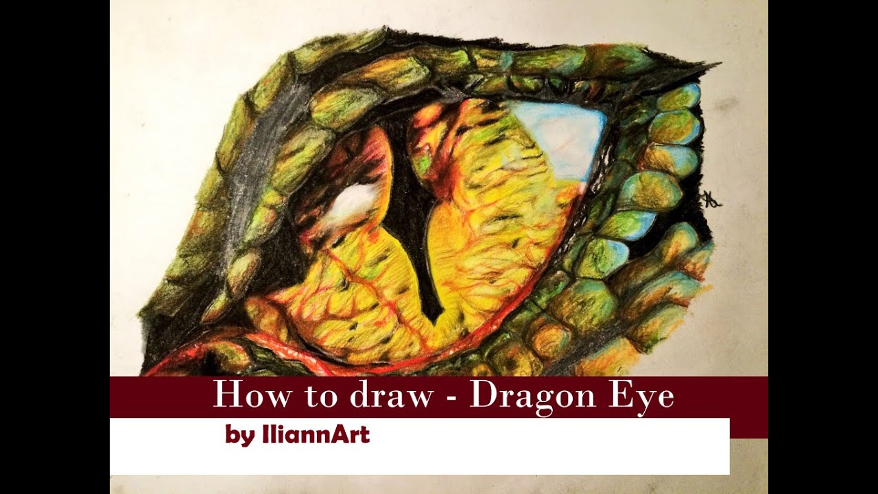 Drawing Realistic Dragon Eye /Tutorial/Smaug inspired/with Charcoal ...