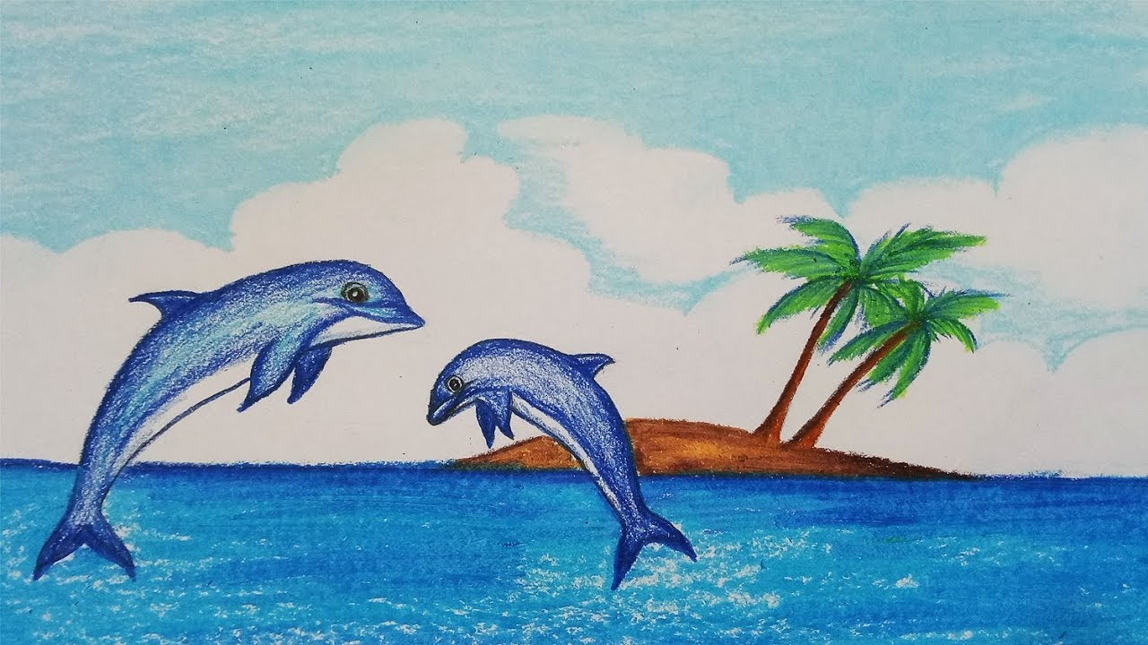 How to draw scenery of dolphin step by step easy draw for Fish scenery drawing