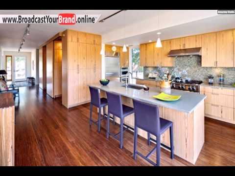 Wohnideen Küche Klassisch Holzfronten Grau Blaue Stühle