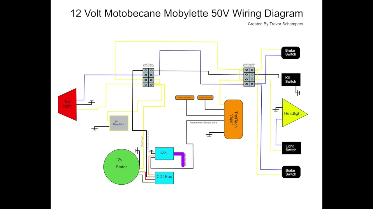 Motobecane Mobylette 50v Wiring Diagram  YouTube