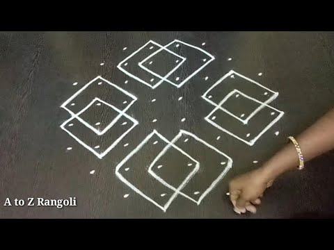Sikku kolam with 8*4*4 dots | Melikala or thippudu muggu | Neli or kambi kolam | Unique rangoli