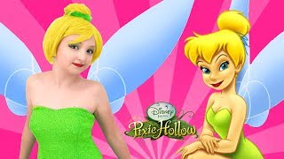 Little Gir play with Disney Princess Tinkerbell Makeup & Costumes for Children