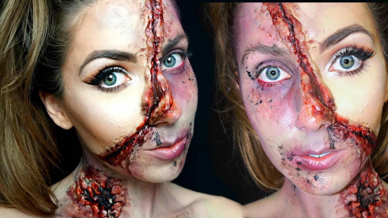Half GLAM Half ZOMBIE GORE Halloween Makeup Tutorial ♡ The ...