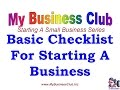 Starting A small Business 3 - Basic Checklist for starting a business