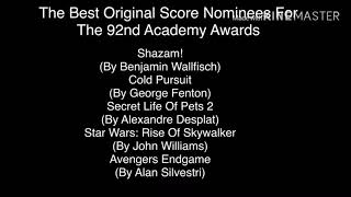 Here's The Best Original Score Nominees The 92nd Academy Awards (For Academy Award Fans)