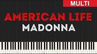 Madonna - American Life (Instrumental Tutorial) [Synthesia]