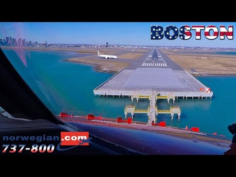 BOEING 737 Touchdown in BOSTON - Pilotsview