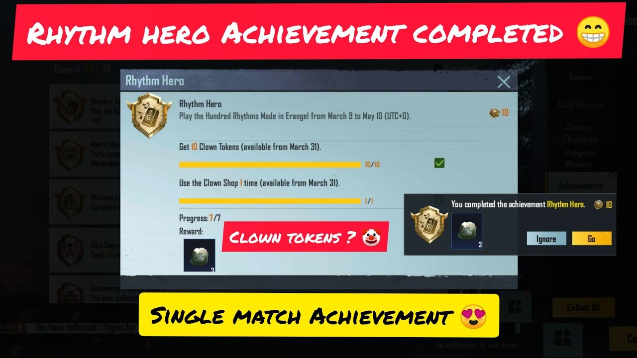 Download RHYTHM HERO ACHIEVEMENT FULLY EXPLAINED IN PUBG MOBILE / 31 MARCH ACHIEVEMENT HOW TO GET CLOWN TOKEN