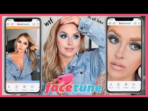 making my sh*tty makeup AMAZING in facetune 😱 it's a scam thumbnail
