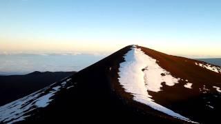 ハワイ マウナケア山頂 雲海に通った山頂の影 マウナロア山 夕日