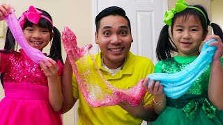 Jannie y Emma Making Slime |Satisfying Slime Balloons | Hacer Slime Challenge
