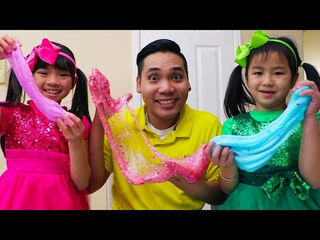 Jannie y Emma Making Slime |Satisfying Slime Balloons | Hacer Slime Challenge