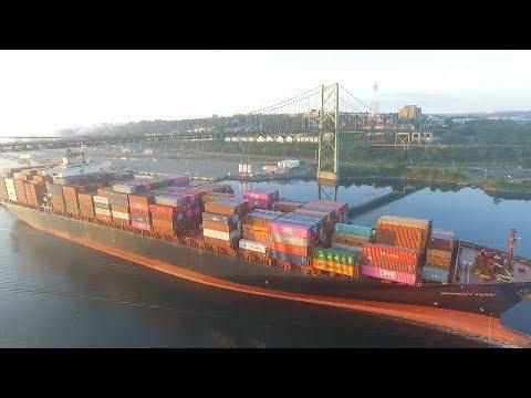 Aerial View of Container Ship BRIGHTON Under MacKay Bridge Inbound into Halifax at Sunrise