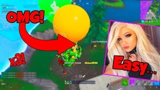 GIRL STREAMER GETS INSANE TRIPLE KILL ON PRO TEAM!!! (Fortnite Battle Royale)
