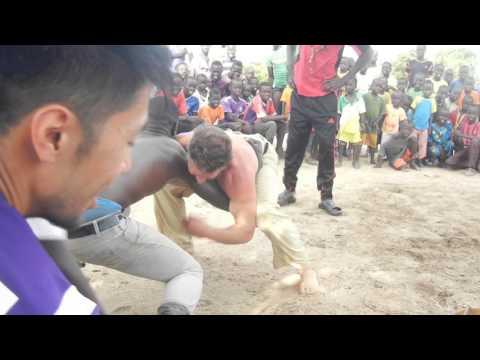 John Flavia wrestling in Senegal Africa