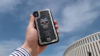 Чехол для iPhone X. Мексиканский череп. Jumo Carbon Case.