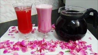 Homemade Rose Syrup Recipe-Rose Essence Recipe-Rose Milk Recipe - Juice Recipe - Rose Sarbat Recipe