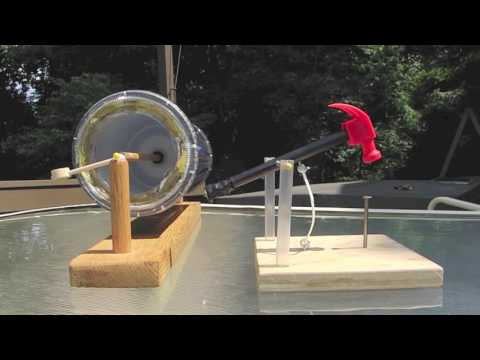 Solar Powered Toy Hammer-solar motor-no electric = Homemade Science with Bruce Yeany