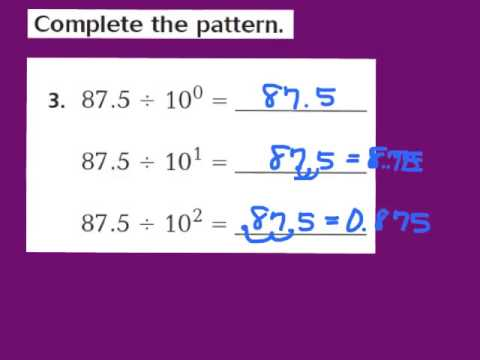 math worksheet : lesson 5 1 division patterns with decimals  youtube : Decimal Patterns Worksheet
