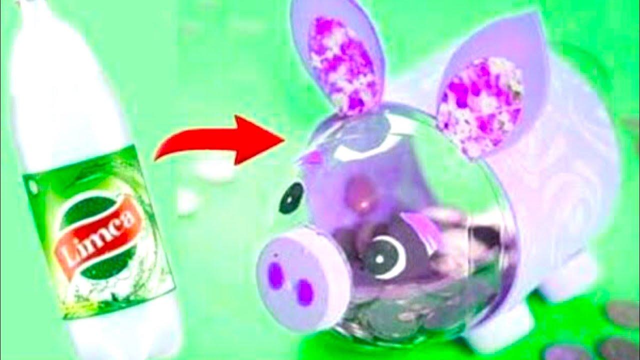 Piggy Bank From Bottle Plastic Bottle Craft Idea Money Bank From Plastic Bottle