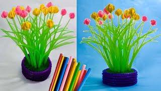 cara membuat bunga hiasan meja tamu dari sedotan kreatif   decoration with a straw