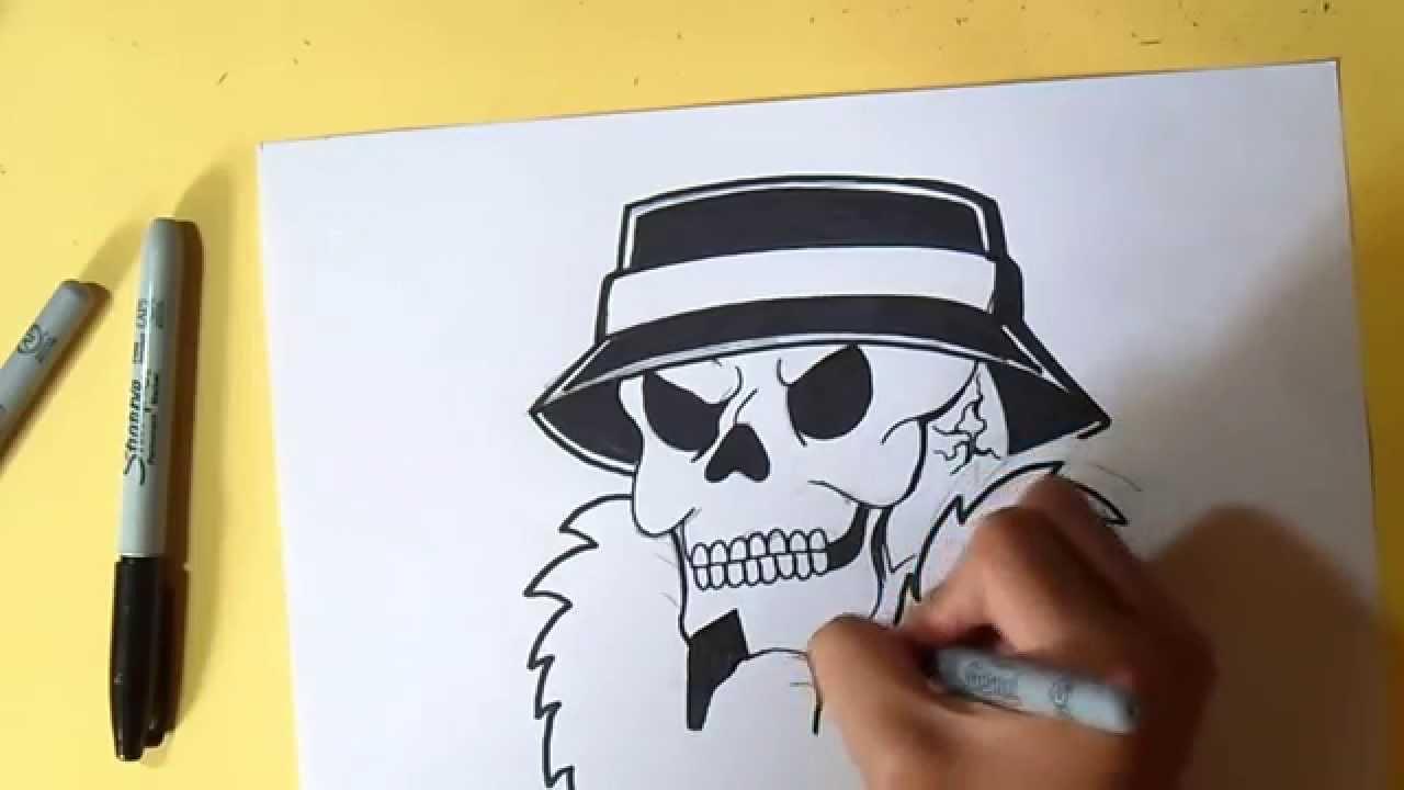 como desenhar caveira cholo Wizard art by Grafite