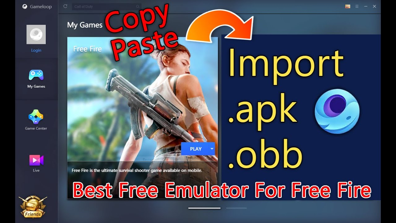 How To Import Free Fire Apk And Obb File To Gameloop Gaming Buddy Play Free Fire On Pc Youtube