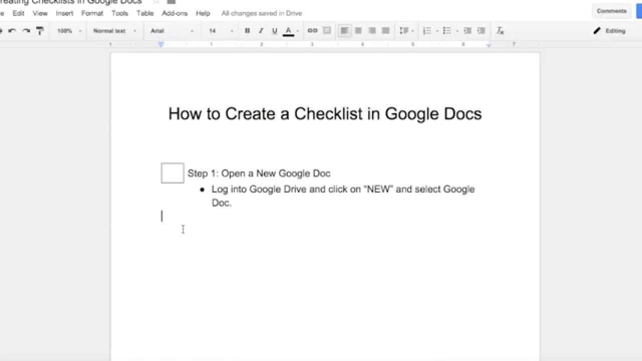 Creating a Checklist in Google Docs - YouTube