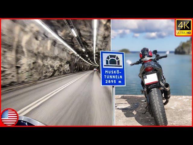 2895m Tunnel To Island (Muskö) & Nice Twisty Roads | 4K Moto Vlog [HONDA CB1000R + KTM 690]