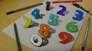 Drawing and Coloring Numbers for Kids - Learning Rainbow Colors