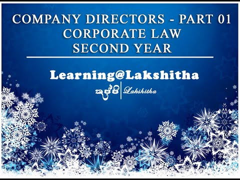 COMPANY DIRECTORS - PART 01 - CORPORATE LAW - 2ND YEAR