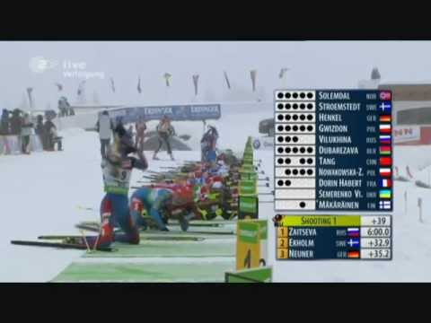 Биатлон Зайцева 11я победа в кубке мира дек 2011.wmv