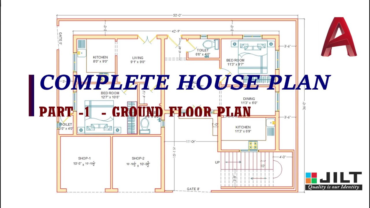Ground Floor Plan Part - 1 ( Complete Dimensions ) - YouTube