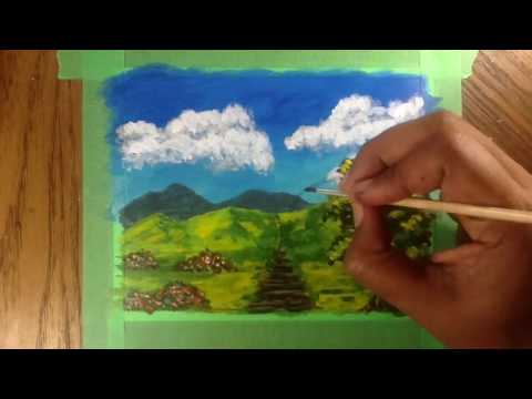 Easy landscape – Acrylic painting for beginners  on Strathmore mixed media  paper – gofundme
