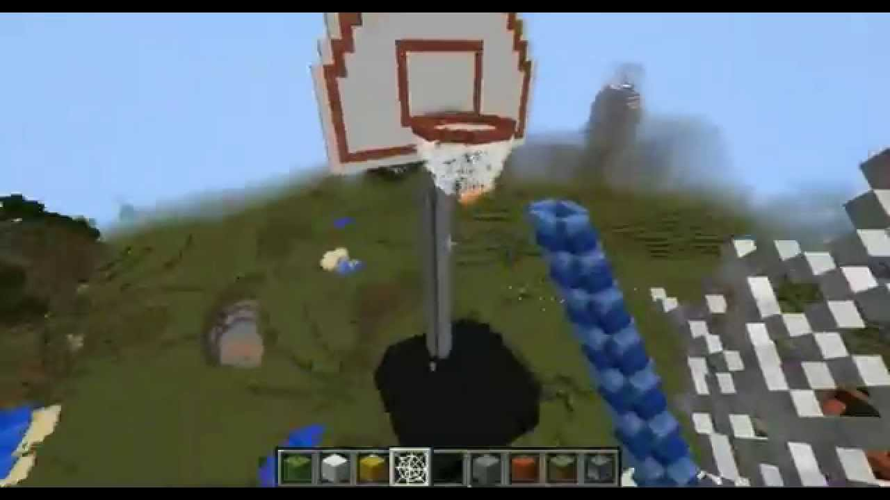 Minecraft creative world speed build basketball hoop for How to build a basketball goal
