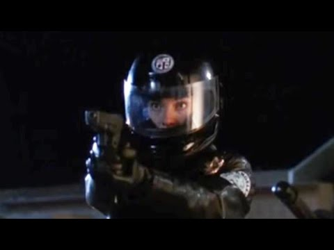 Actress Chelsea Field in Motorcycle Gear